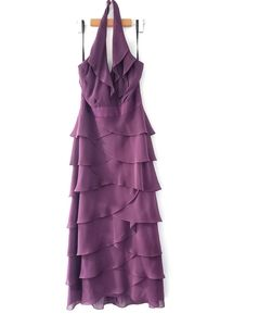 After Six Purple Halter Tiered Purple Bridesmaid